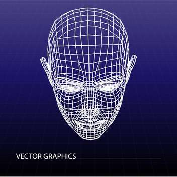 Vector model of human face on purple background - vector gratuit #126555