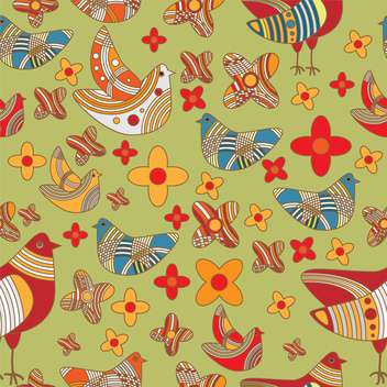 Vector colorful background with drawing birds and flowers - Free vector #126565