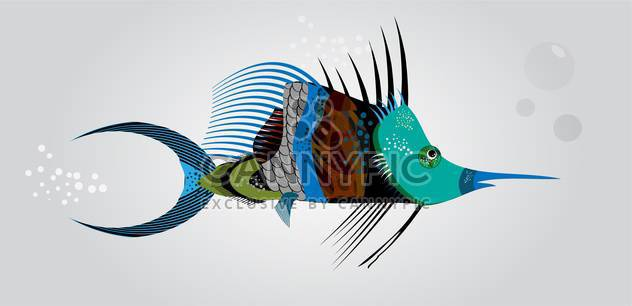 Vector illustration of colorful abstract fish on grey background - Free vector #126625