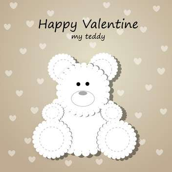 Vector greeting card for Valentine's day with teddy bear - бесплатный vector #126655