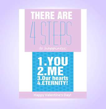 Vector greeting card for Valentine's day with four steps to happiness - vector gratuit #126675