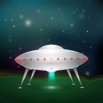 colorful illustration of unidentified flying object on green grass - vector gratuit #126695