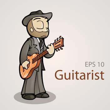 Vector illustration of cartoon sweet guitarist on grey background - бесплатный vector #126715
