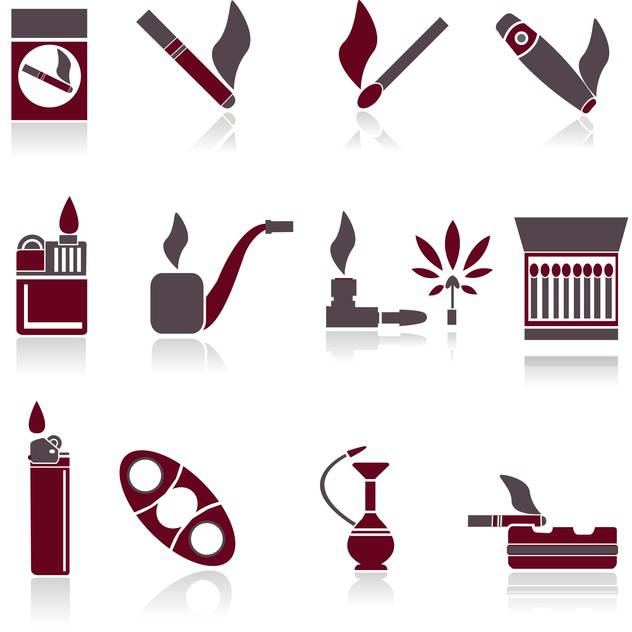 grey and red colors smoking icons on white background - vector gratuit #126745