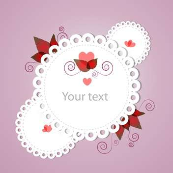 Vector white color floral frame with text place on pink background - Free vector #126755
