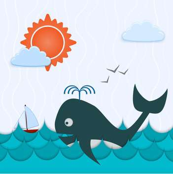 Vector blue color background with whale and boat - vector #126785 gratis