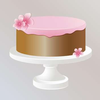 Illustration of sweet tasty cake with pink cream - бесплатный vector #126805