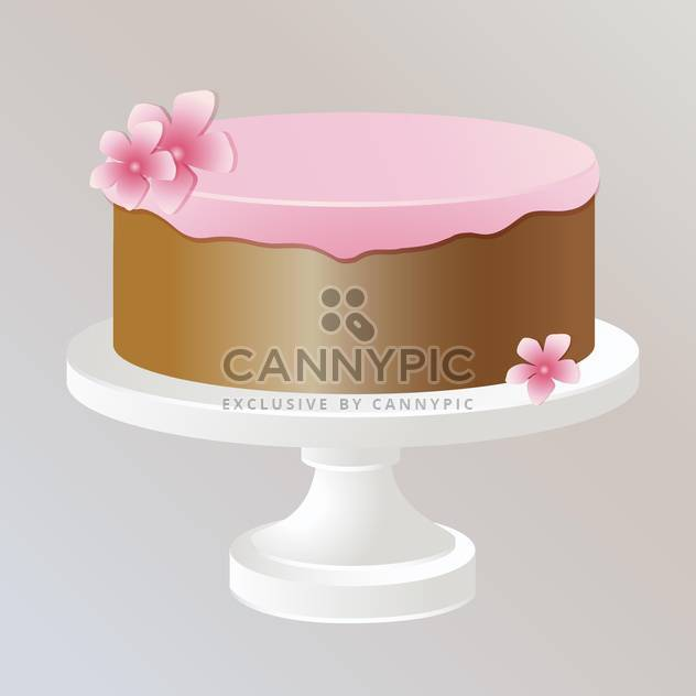 Illustration of sweet tasty cake with pink cream - Free vector #126805