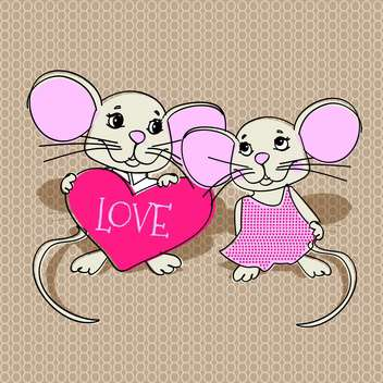 Mouses in love with pink heart for valentine card - бесплатный vector #126835