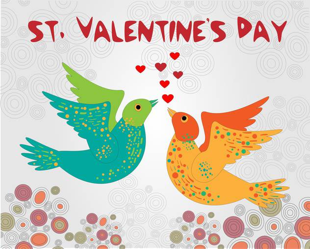 Vector background with birds for Valentine's day - vector gratuit #126885