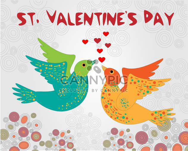 Vector background with birds for Valentine's day - Free vector #126885