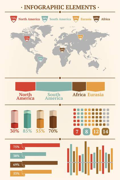 Retro infographics set with world map and Information graphics - Free vector #127005
