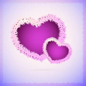 Vector background with fluffy purple hearts - vector gratuit #127035