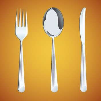 vector illustration of spoon with fork and knife on brown background - vector gratuit #127075