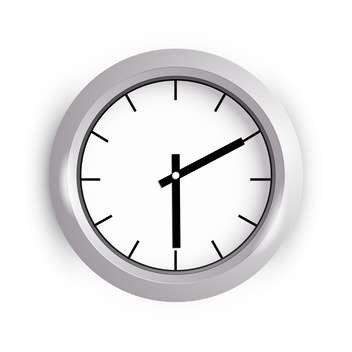 Vector illustration of wall clock on white background - vector #127095 gratis