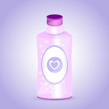 pink bottle with hearts on purple background - vector gratuit #127165