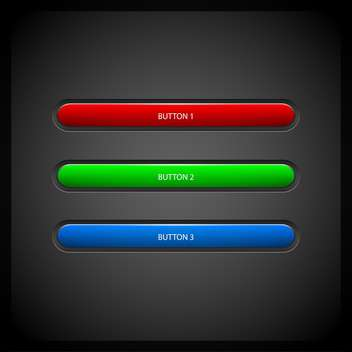 Vector colored buttons on dark grey background - vector gratuit #127195
