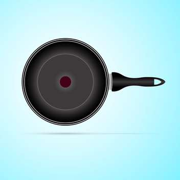 black color frying pan on blue background - vector gratuit #127285