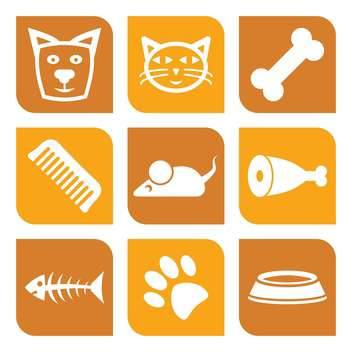 vector collection of pet icons with dog and cat - vector gratuit #127295