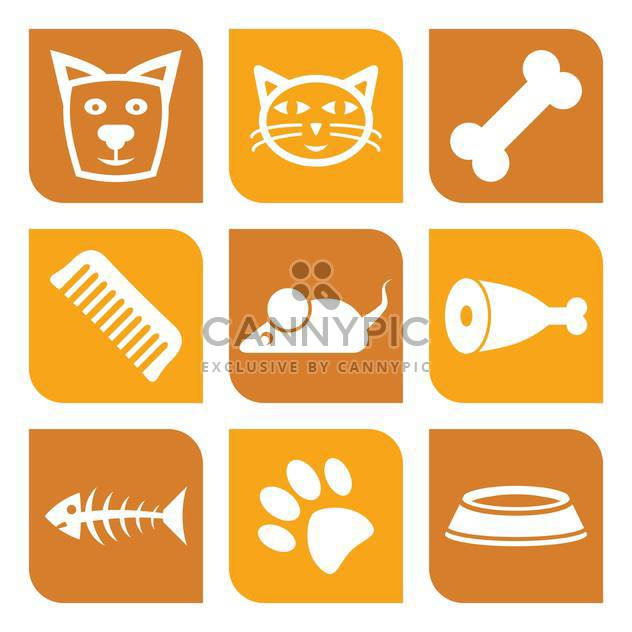 vector collection of pet icons with dog and cat - Kostenloses vector #127295