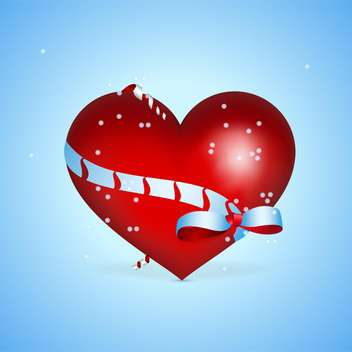 holiday background with red heart on blue background - vector gratuit #127375