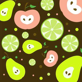 colorful illustration of fruits seamless pattern - Free vector #127415