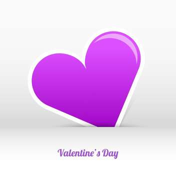 Vector valentines day card with purple heart and text place - vector gratuit #127455