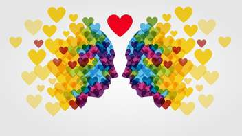 Faces made of colorful hearts on white background - vector gratuit #127505