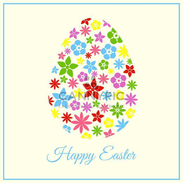 holiday background with colorful floral easter egg - Free vector #127625