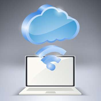 Laptop and wireless network cloud on grey background - Free vector #127645