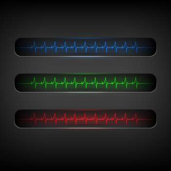 Colorful heartbeat medical elements on dark background - vector gratuit #127675