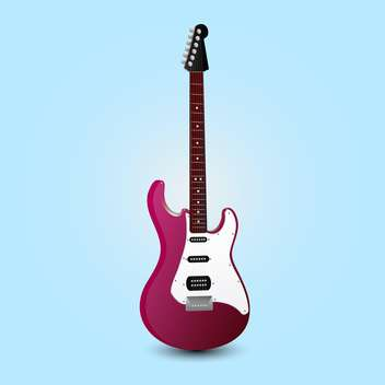stylized electric guitar in pink color on blue background - vector #127735 gratis