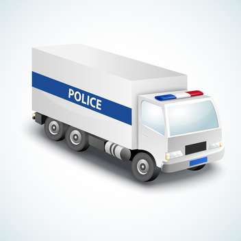 vector illustration of police truck on white background - vector gratuit #127745