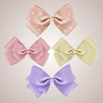 vector set of silk bows on grey background - vector gratuit #127845