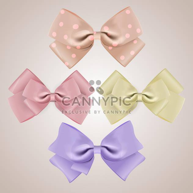 vector set of silk bows on grey background - Kostenloses vector #127845