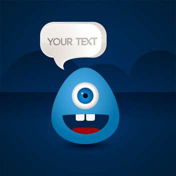 blue creature with text place on blue background - vector #127915 gratis