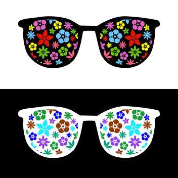 fashion sunglasses with flowers on black and white background - бесплатный vector #127935