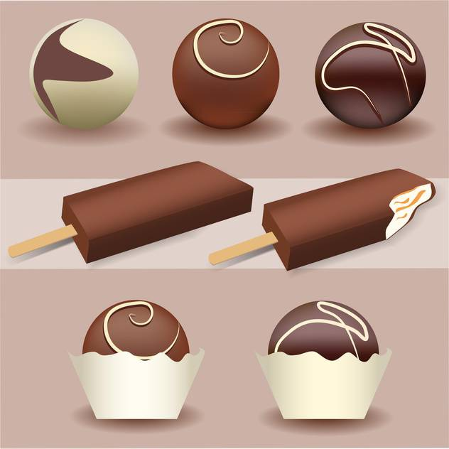 vector illustration of sweet ice cream set with chocolate - Free vector #128035