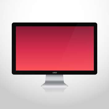 vector illustration of computer monitor with red screen on white background - бесплатный vector #128045