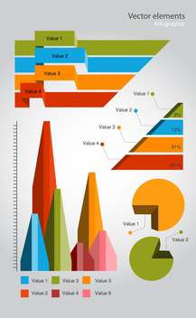 colorful infographic elements on grey background - vector gratuit #128065