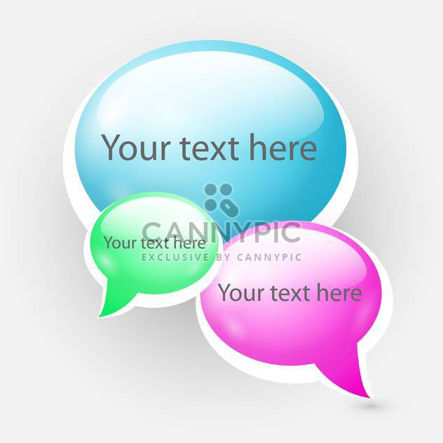 Shiny speech bubbles on grey background - Free vector #128085