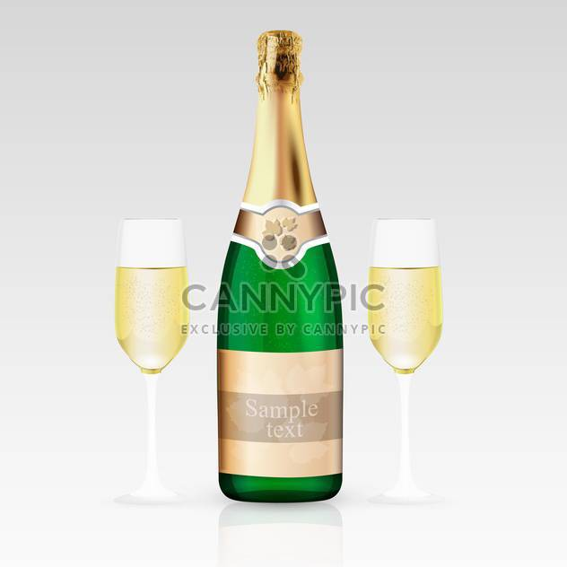 Two glasses and bottle of champagne, vector illustration. - Free vector #128225