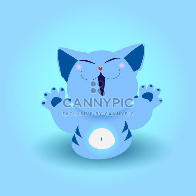 Cute blue cat, vector icon - Free vector #128245