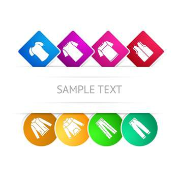 Vector set with colorful clothes icons and place for text, isolated on white background - Free vector #128265