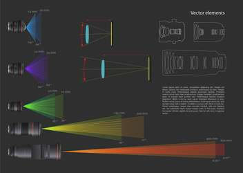 Set with lens vector infohraphic elements - vector gratuit #128305
