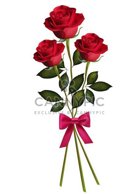 Beauty red roses with bow isolated on white background - Free vector #128315