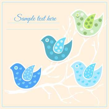 Colorful vector spring birds - vector gratuit #128325