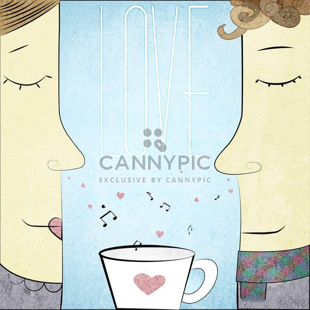 male and female couple in love with a tea cup - бесплатный vector #128345