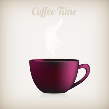 single cup of hot coffee with smoke - vector gratuit #128355