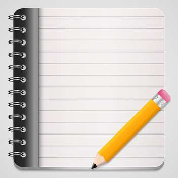 Vector illustration of yellow pencil with coil bound notebook - Free vector #128555